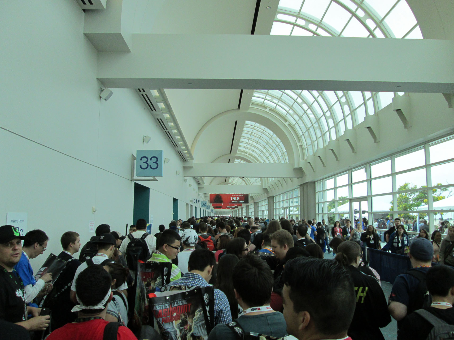 The lineup of people waiting to enter the Exhibit Hall on Thursday.