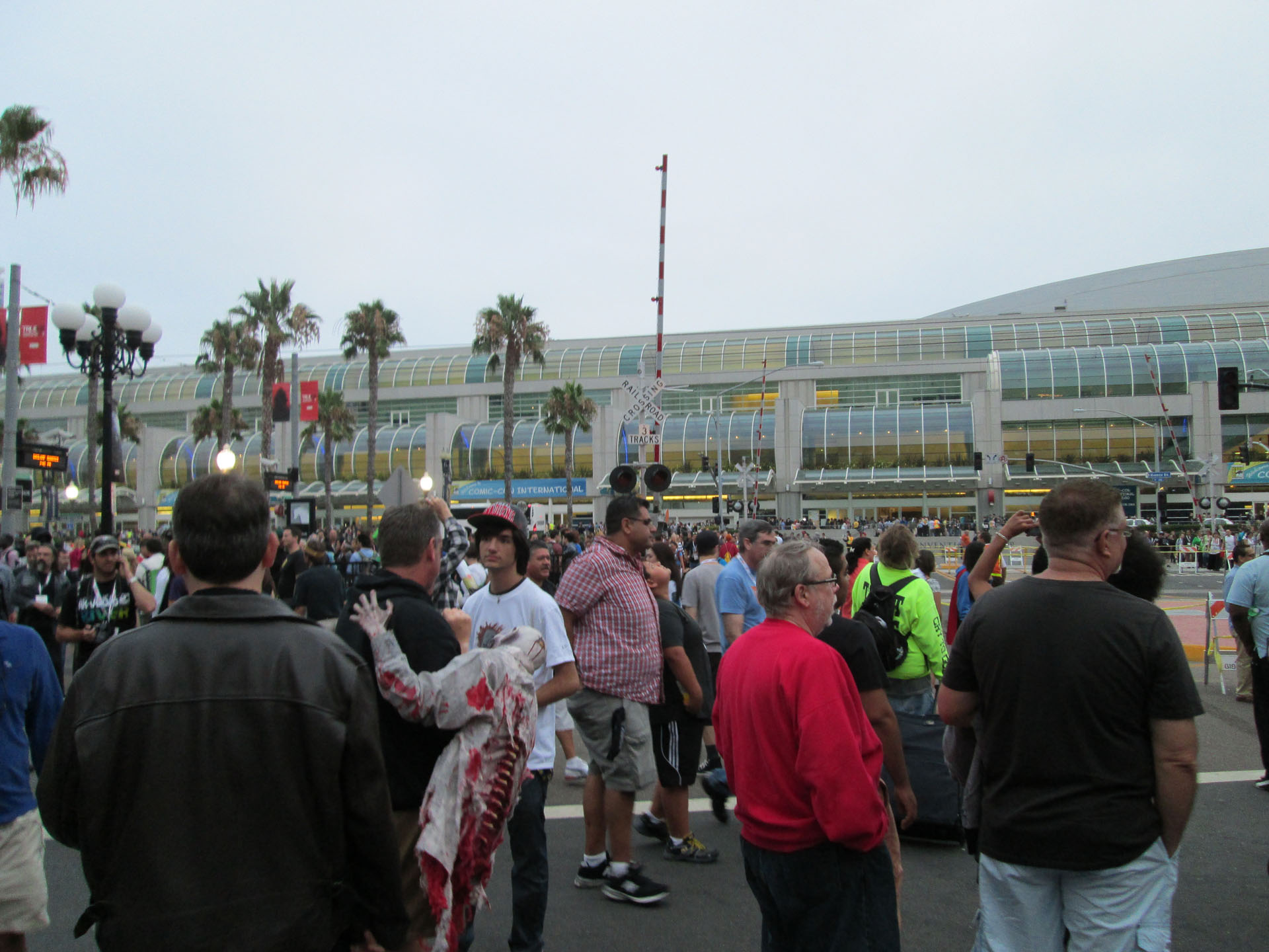 People outside the convention center.